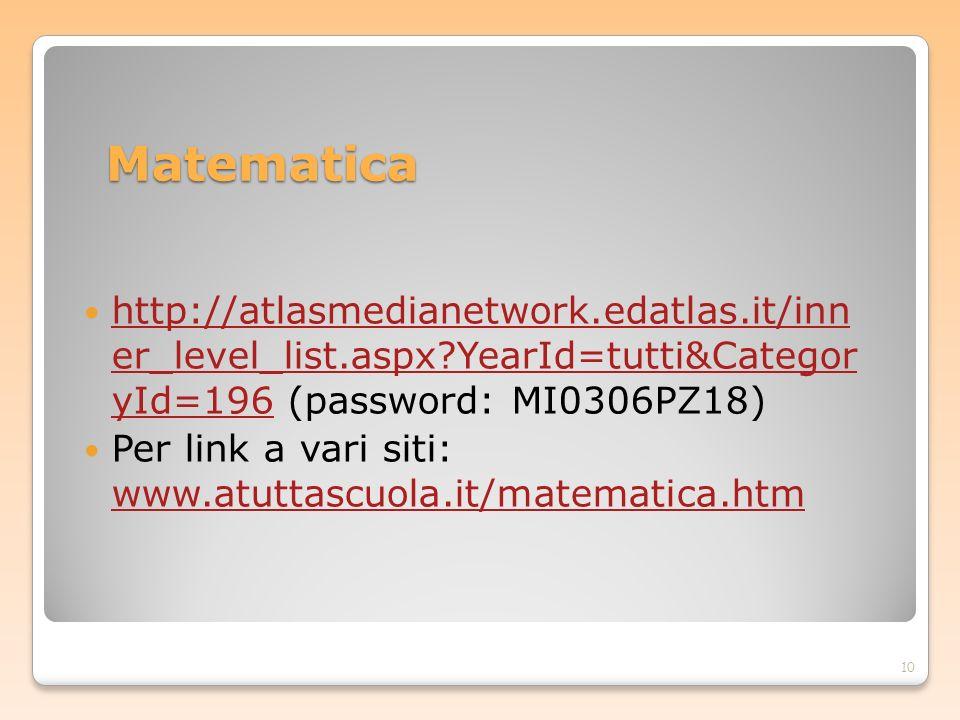 Matematica http://atlasmedianetwork.edatlas.it/inn er_level_list.aspx?YearId=tutti&Categor yId=196 (password: MI0306PZ18) http://atlasmedianetwork.eda