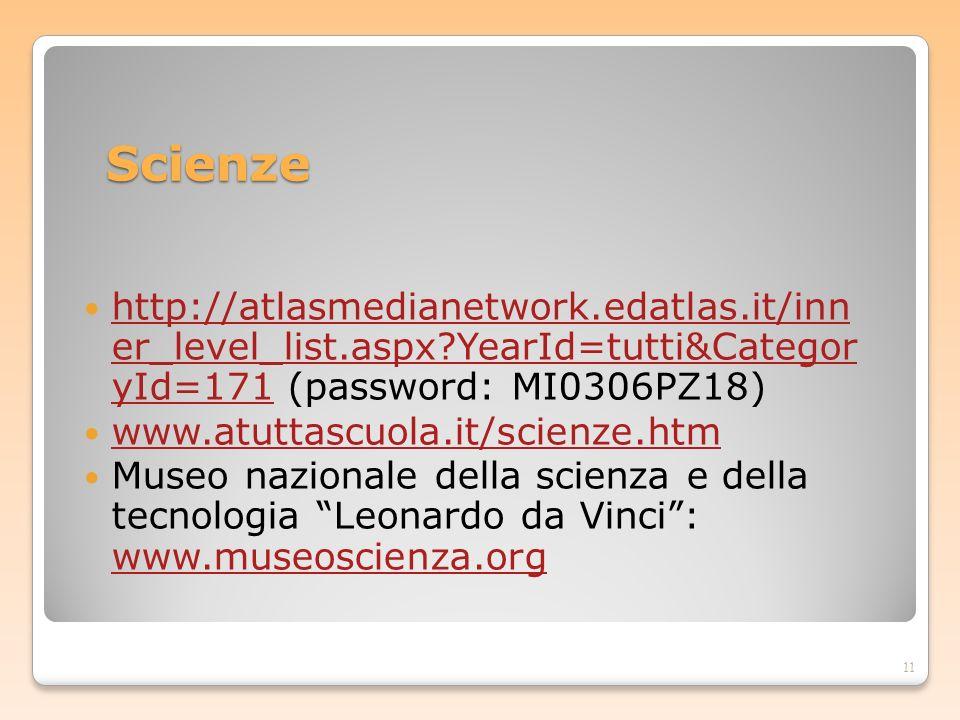 Scienze http://atlasmedianetwork.edatlas.it/inn er_level_list.aspx?YearId=tutti&Categor yId=171 (password: MI0306PZ18) http://atlasmedianetwork.edatla