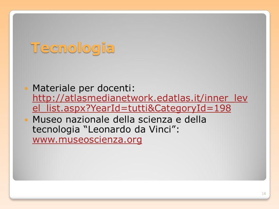 Tecnologia Materiale per docenti: http://atlasmedianetwork.edatlas.it/inner_lev el_list.aspx?YearId=tutti&CategoryId=198 http://atlasmedianetwork.edat