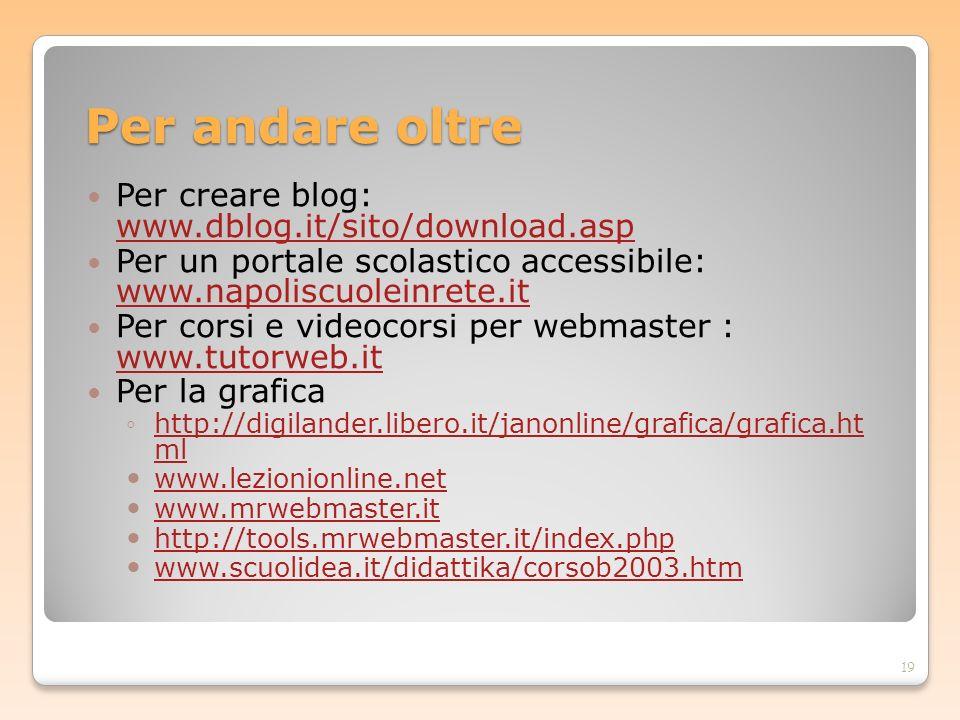 Per andare oltre Per creare blog: www.dblog.it/sito/download.asp www.dblog.it/sito/download.asp Per un portale scolastico accessibile: www.napoliscuol