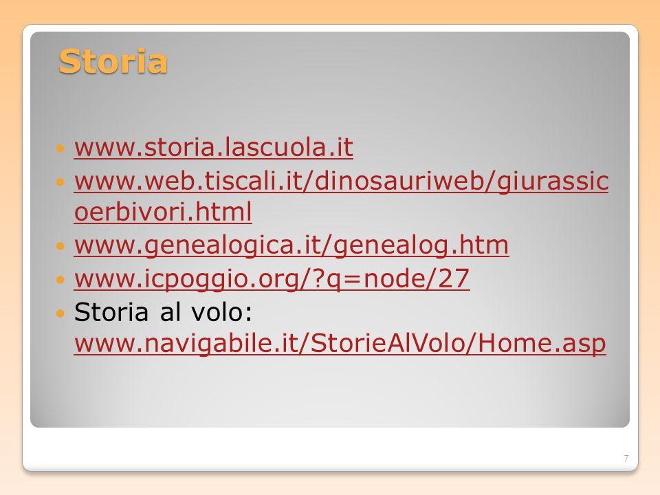 Storia www.storia.lascuola.it www.web.tiscali.it/dinosauriweb/giurassic oerbivori.html www.web.tiscali.it/dinosauriweb/giurassic oerbivori.html www.ge