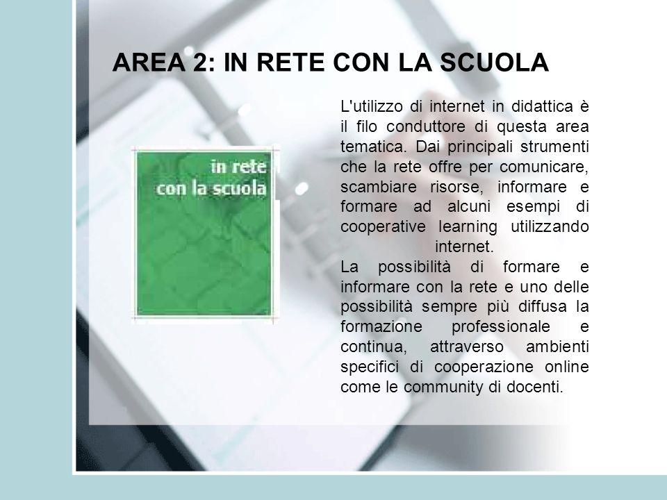AREA 2: IN RETE CON LA SCUOLA L'utilizzo di internet in didattica è il filo conduttore di questa area tematica. Dai principali strumenti che la rete o