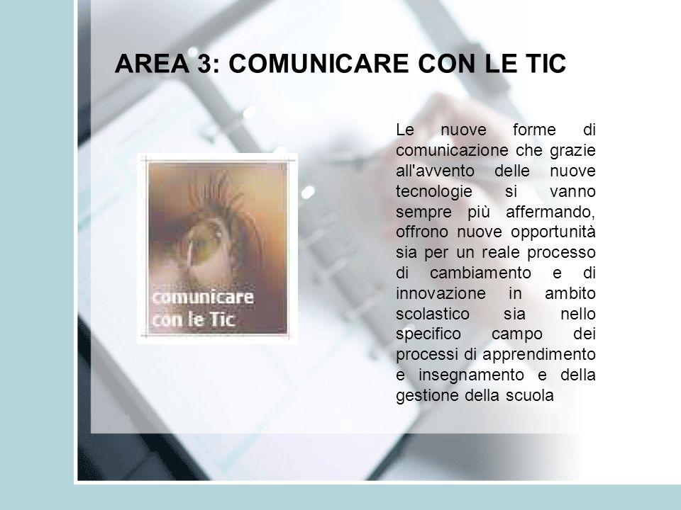 AREA 3: COMUNICARE CON LE TIC Le nuove forme di comunicazione che grazie all'avvento delle nuove tecnologie si vanno sempre più affermando, offrono nu