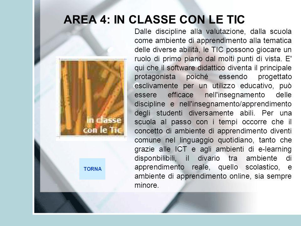 AREA 4: IN CLASSE CON LE TIC TORNA Dalle discipline alla valutazione, dalla scuola come ambiente di apprendimento alla tematica delle diverse abilità,
