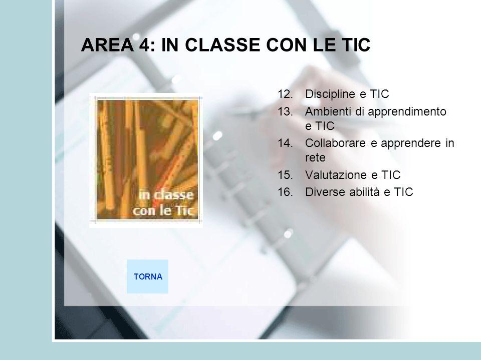 AREA 4: IN CLASSE CON LE TIC 12.Discipline e TIC 13.Ambienti di apprendimento e TIC 14.Collaborare e apprendere in rete 15.Valutazione e TIC 16.Divers