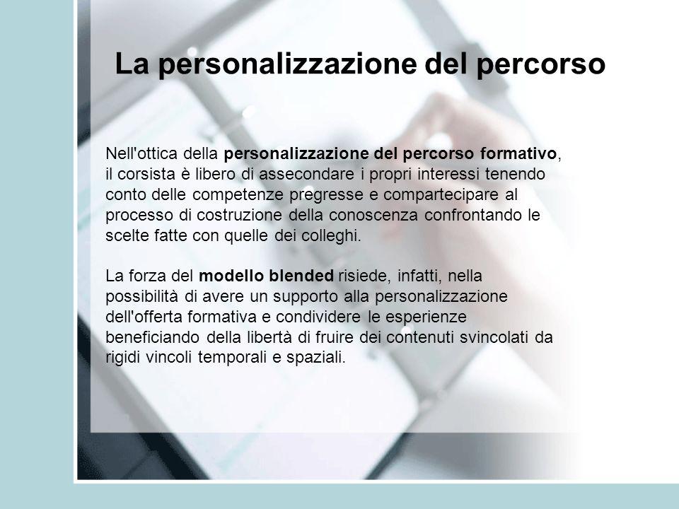 La personalizzazione del percorso Nell'ottica della personalizzazione del percorso formativo, il corsista è libero di assecondare i propri interessi t
