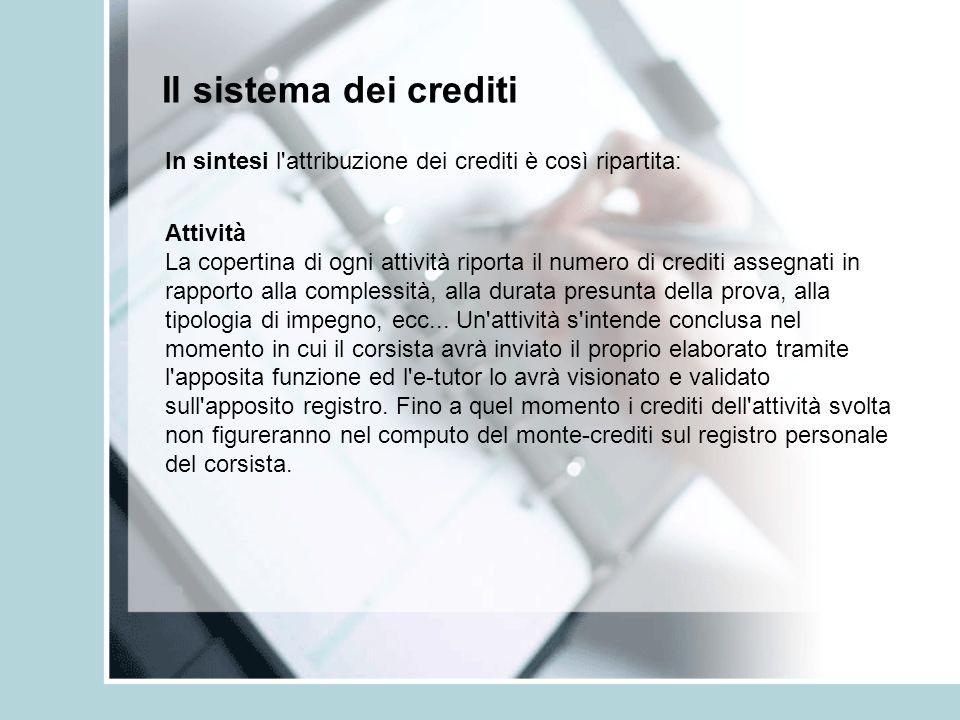 Il sistema dei crediti In sintesi l'attribuzione dei crediti è così ripartita: Attività La copertina di ogni attività riporta il numero di crediti ass