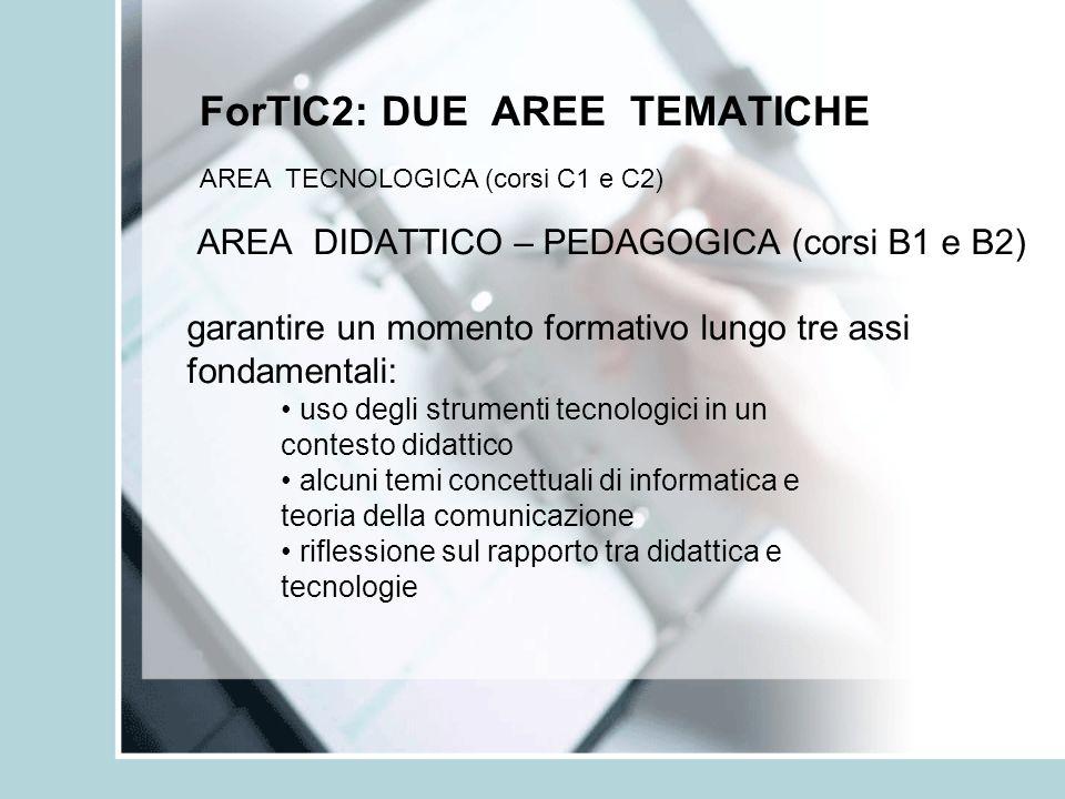 ForTIC2: DUE AREE TEMATICHE AREA DIDATTICO – PEDAGOGICA (corsi B1 e B2) garantire un momento formativo lungo tre assi fondamentali: uso degli strument