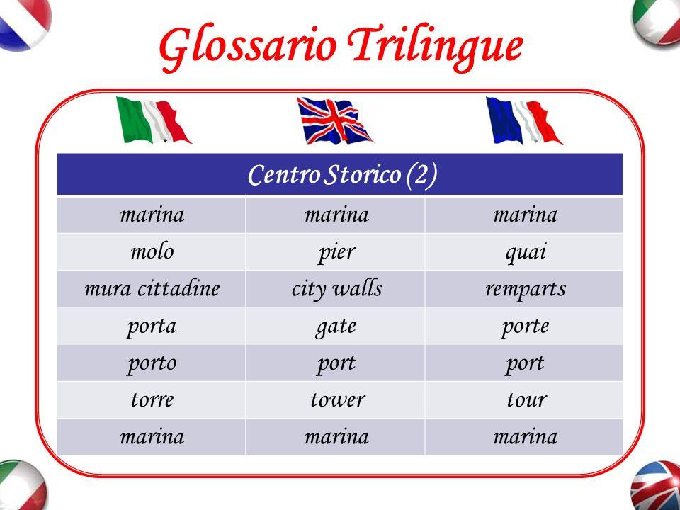 Glossario Trilingue Strade e Vie piazzasquarePlace porticiporticoarcades (f.