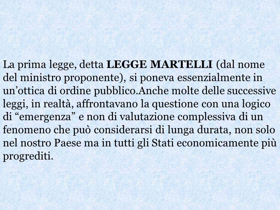 LE LEGGI ITALIANE IN MATERIA A partire dal 1990 il legislatore italiano ha posto lattenzione al problema dellimmigrazione.