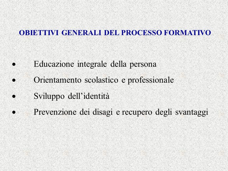 OBIETTIVI GENERALI DEL PROCESSO FORMATIVO Educazione integrale della persona Orientamento scolastico e professionale Sviluppo dellidentità Prevenzione dei disagi e recupero degli svantaggi