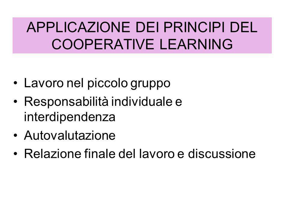 APPLICAZIONE DEI PRINCIPI DEL COOPERATIVE LEARNING Lavoro nel piccolo gruppo Responsabilità individuale e interdipendenza Autovalutazione Relazione fi