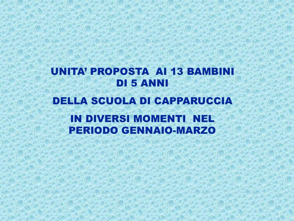 UNITA PROPOSTA AI 13 BAMBINI DI 5 ANNI DELLA SCUOLA DI CAPPARUCCIA IN DIVERSI MOMENTI NEL PERIODO GENNAIO-MARZO
