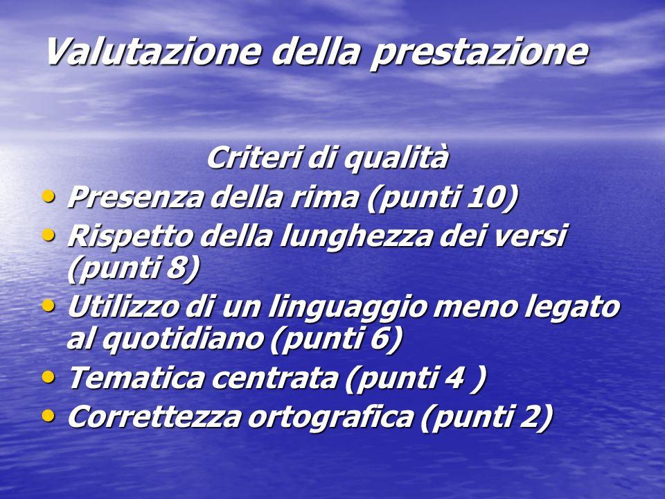 Valutazione della prestazione Criteri di qualità Criteri di qualità Presenza della rima (punti 10) Presenza della rima (punti 10) Rispetto della lungh
