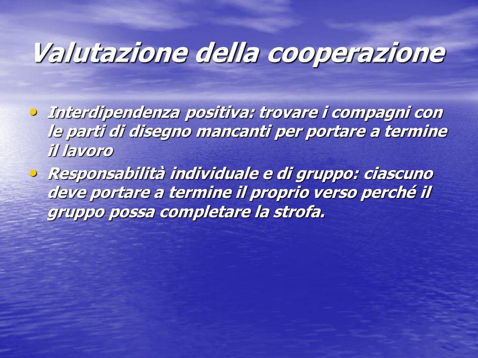 Valutazione della cooperazione Interdipendenza positiva: trovare i compagni con le parti di disegno mancanti per portare a termine il lavoro Interdipe