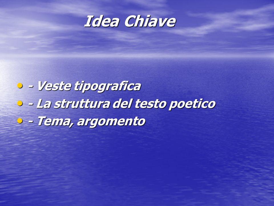 Idea Chiave - Veste tipografica - Veste tipografica - La struttura del testo poetico - La struttura del testo poetico - Tema, argomento - Tema, argome