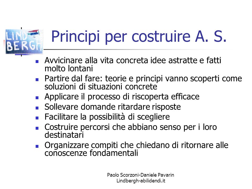 Paolo Scorzoni-Daniele Pavarin Lindbergh-abilidendi.it Principi per costruire A.