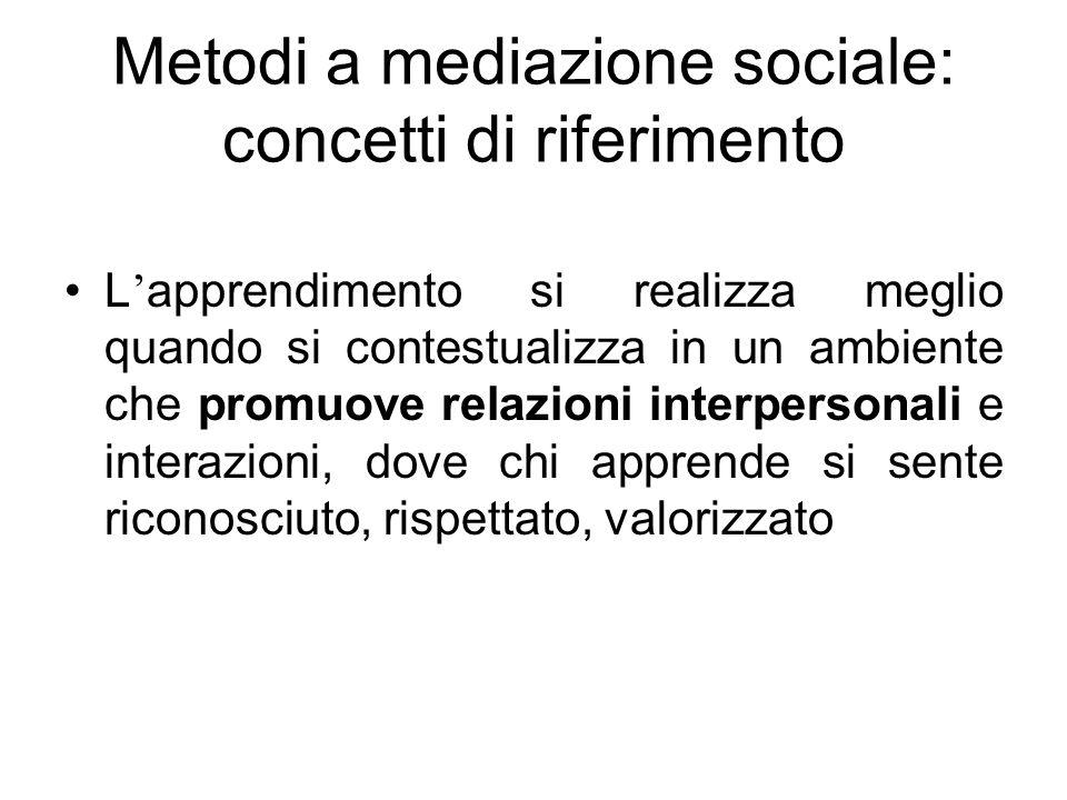Metodi a mediazione sociale: concetti di riferimento L apprendimento si realizza meglio quando si contestualizza in un ambiente che promuove relazioni