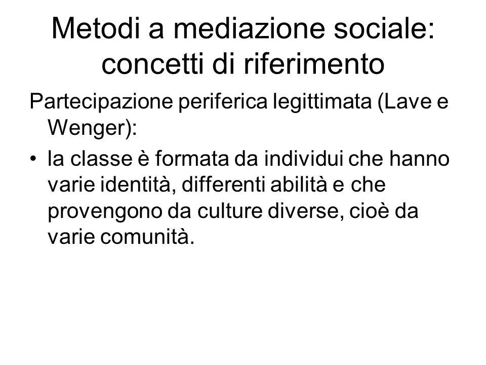 Metodi a mediazione sociale: concetti di riferimento Partecipazione periferica legittimata (Lave e Wenger): la classe è formata da individui che hanno