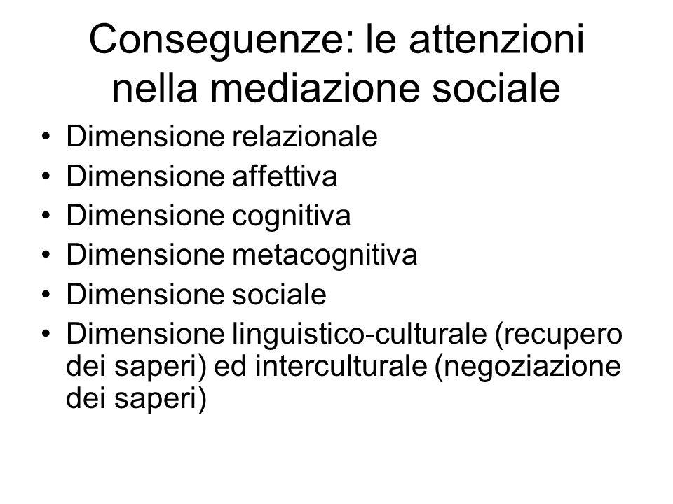 Conseguenze: le attenzioni nella mediazione sociale Dimensione relazionale Dimensione affettiva Dimensione cognitiva Dimensione metacognitiva Dimensio