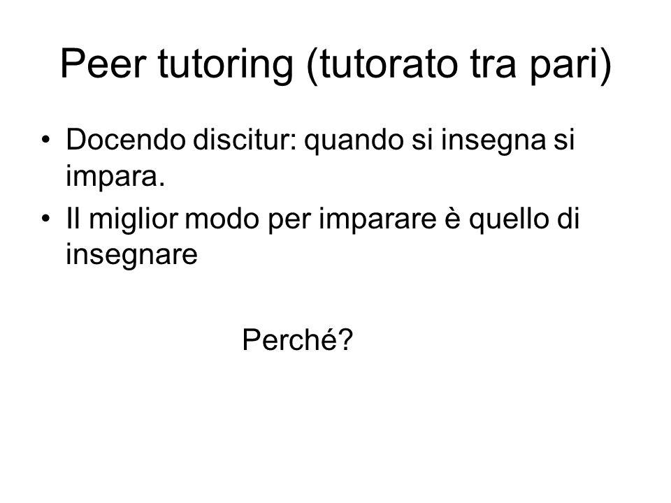 Peer tutoring (tutorato tra pari) Docendo discitur: quando si insegna si impara. Il miglior modo per imparare è quello di insegnare Perché?