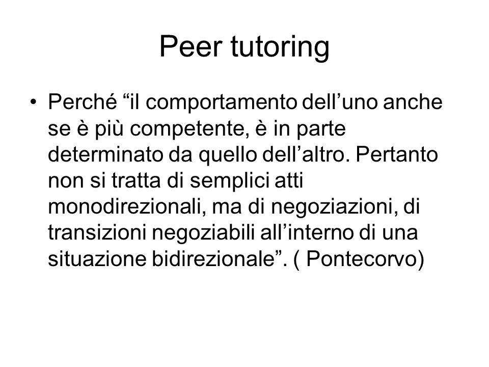 Peer tutoring Perché il comportamento delluno anche se è più competente, è in parte determinato da quello dellaltro. Pertanto non si tratta di semplic