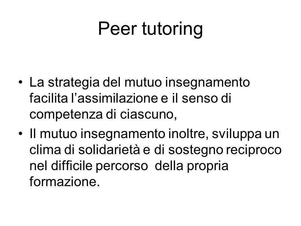 Peer tutoring La strategia del mutuo insegnamento facilita lassimilazione e il senso di competenza di ciascuno, Il mutuo insegnamento inoltre, svilupp
