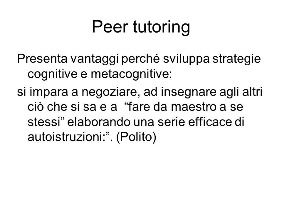 Peer tutoring Presenta vantaggi perché sviluppa strategie cognitive e metacognitive: si impara a negoziare, ad insegnare agli altri ciò che si sa e a