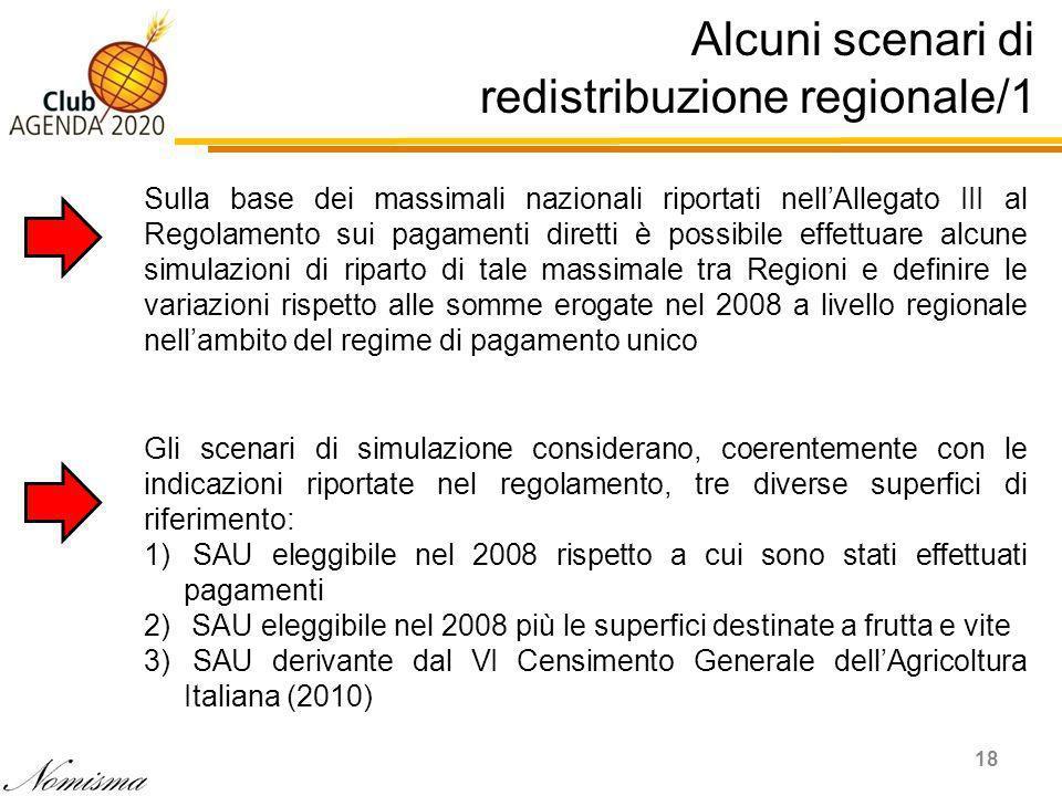 Alcuni scenari di redistribuzione regionale/1 18 Sulla base dei massimali nazionali riportati nellAllegato III al Regolamento sui pagamenti diretti è possibile effettuare alcune simulazioni di riparto di tale massimale tra Regioni e definire le variazioni rispetto alle somme erogate nel 2008 a livello regionale nellambito del regime di pagamento unico Gli scenari di simulazione considerano, coerentemente con le indicazioni riportate nel regolamento, tre diverse superfici di riferimento: 1) SAU eleggibile nel 2008 rispetto a cui sono stati effettuati pagamenti 2) SAU eleggibile nel 2008 più le superfici destinate a frutta e vite 3) SAU derivante dal VI Censimento Generale dellAgricoltura Italiana (2010)