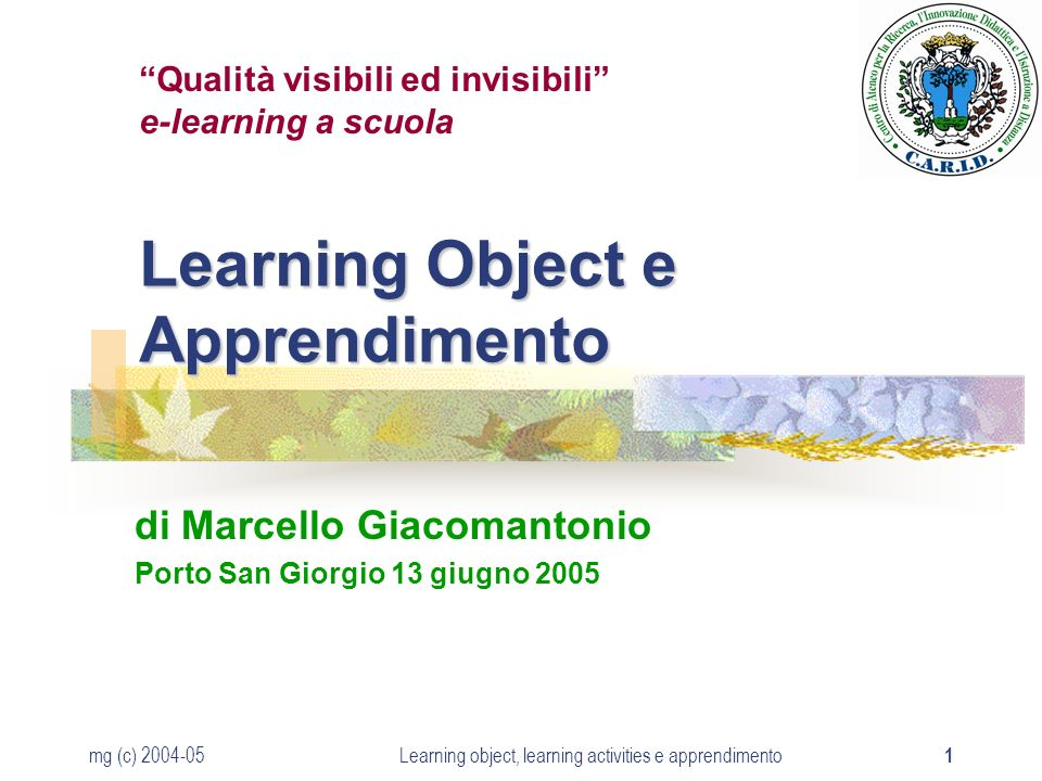 mg (c) 2004-05Learning object, learning activities e apprendimento 1 Learning Object e Apprendimento di Marcello Giacomantonio Porto San Giorgio 13 giugno 2005 Qualità visibili ed invisibili e-learning a scuola