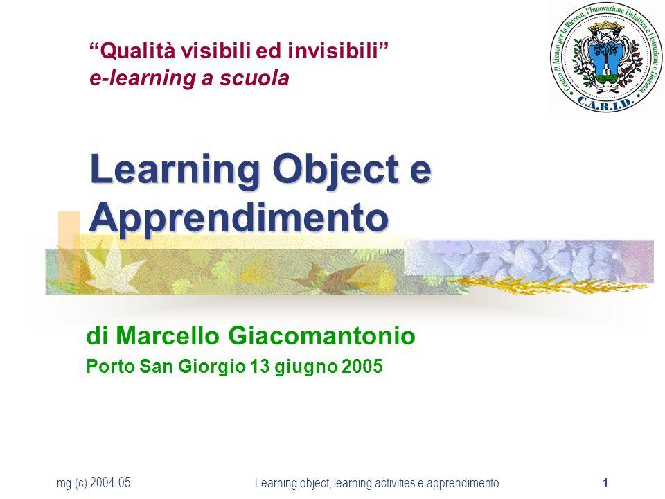 mg (c) 2004-05Learning object, learning activities e apprendimento 2 Apprendere in e-learning Contenuti Comunicazione Facilitazione Gestione Pagine Web, Video, Animazioni Ecc.