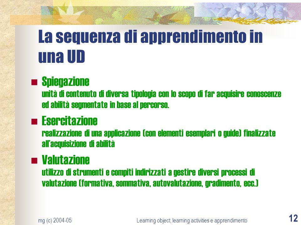 mg (c) 2004-05Learning object, learning activities e apprendimento 12 La sequenza di apprendimento in una UD Spiegazione unità di contenuto di diversa