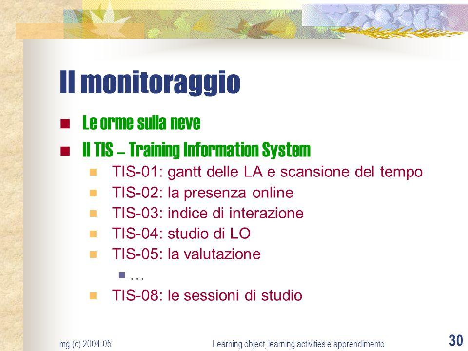 mg (c) 2004-05Learning object, learning activities e apprendimento 30 Il monitoraggio Le orme sulla neve Il TIS – Training Information System TIS-01: