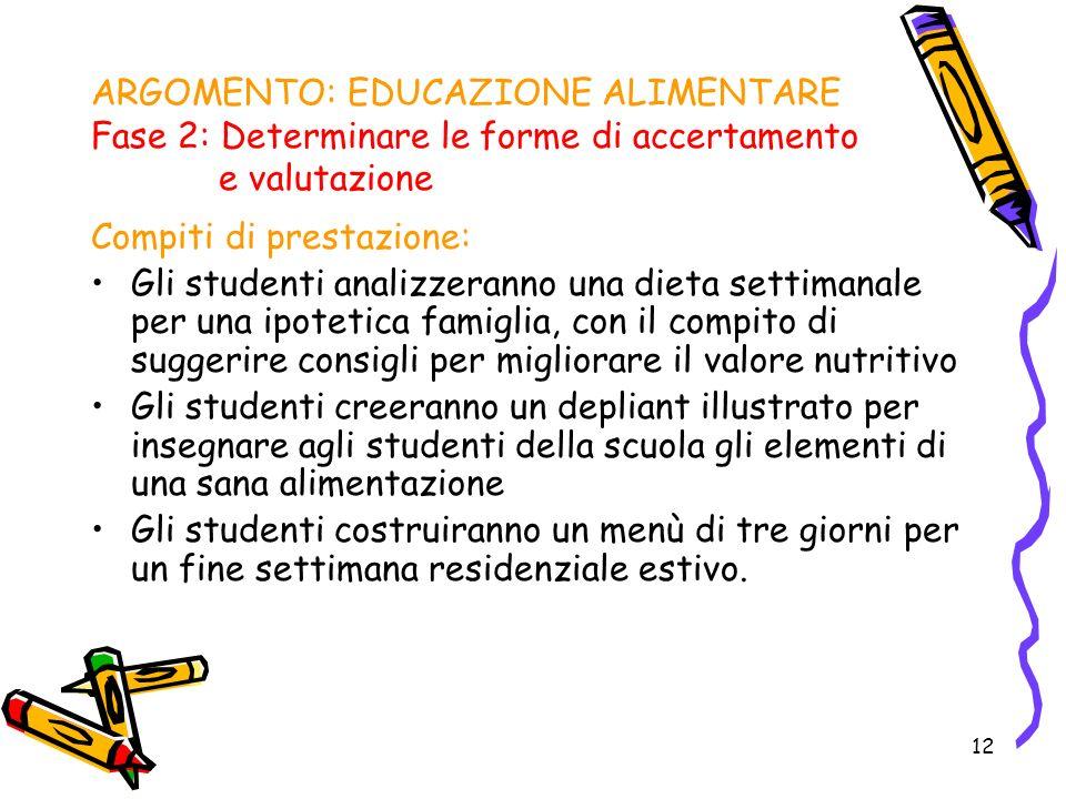 12 ARGOMENTO: EDUCAZIONE ALIMENTARE Fase 2: Determinare le forme di accertamento e valutazione Compiti di prestazione: Gli studenti analizzeranno una