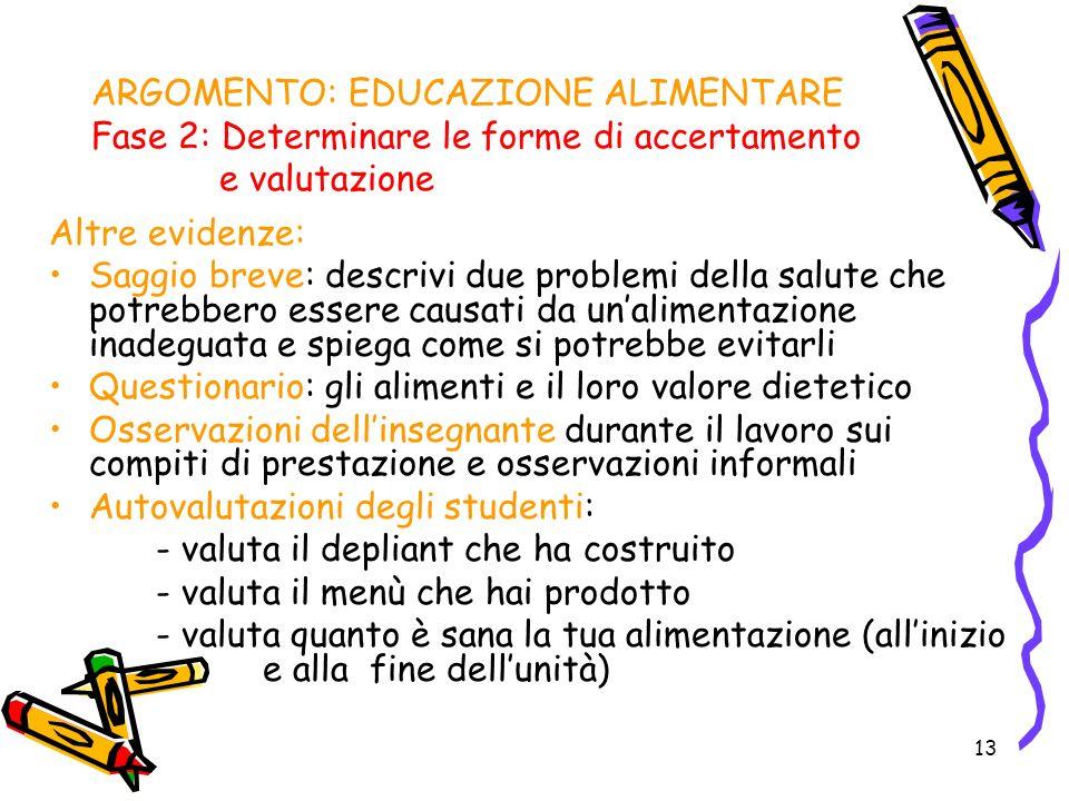 13 ARGOMENTO: EDUCAZIONE ALIMENTARE Fase 2: Determinare le forme di accertamento e valutazione Altre evidenze: Saggio breve: descrivi due problemi del
