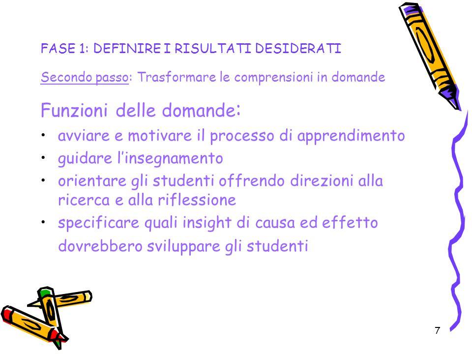 7 FASE 1: DEFINIRE I RISULTATI DESIDERATI Secondo passo: Trasformare le comprensioni in domande Funzioni delle domande : avviare e motivare il process