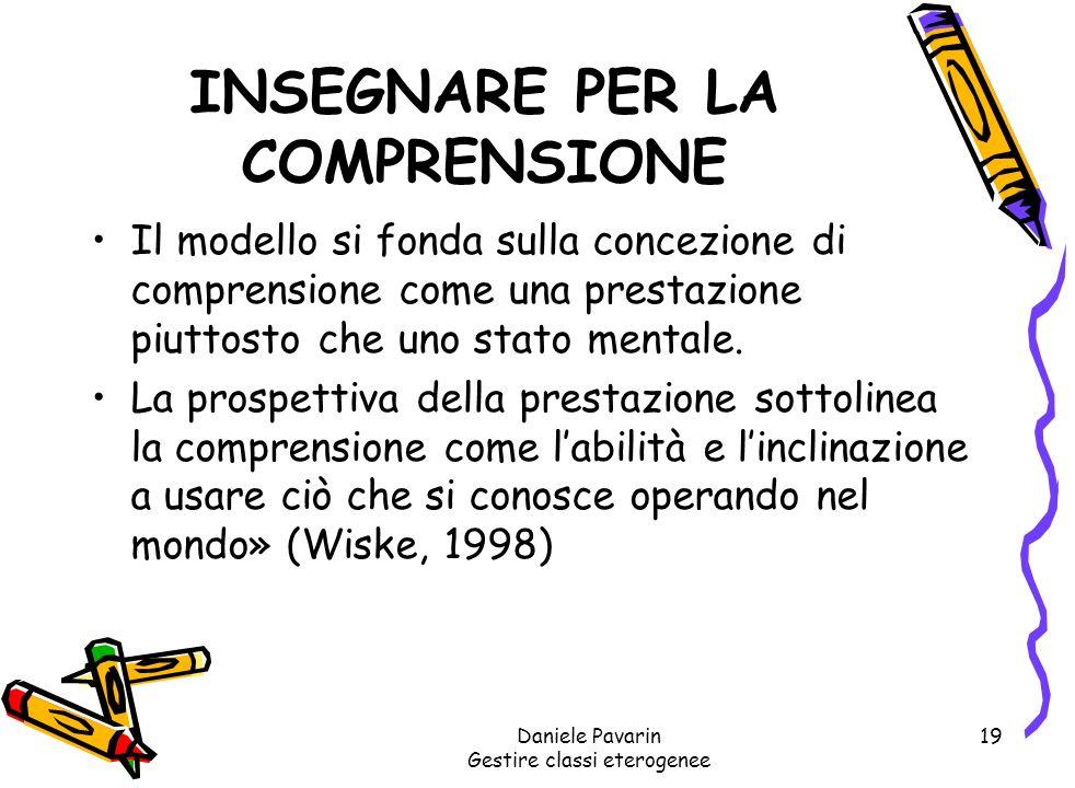 Daniele Pavarin Gestire classi eterogenee 19 INSEGNARE PER LA COMPRENSIONE Il modello si fonda sulla concezione di comprensione come una prestazione piuttosto che uno stato mentale.