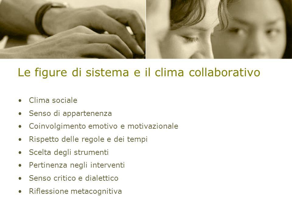 Le figure di sistema e il clima collaborativo Clima sociale Senso di appartenenza Coinvolgimento emotivo e motivazionale Rispetto delle regole e dei t