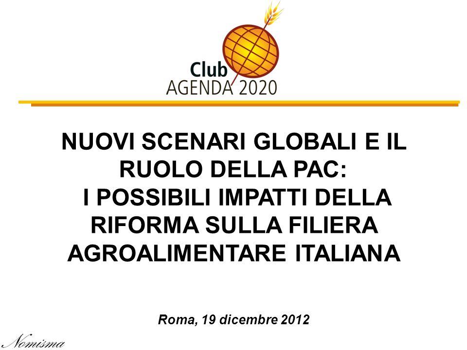 NUOVI SCENARI GLOBALI E IL RUOLO DELLA PAC: I POSSIBILI IMPATTI DELLA RIFORMA SULLA FILIERA AGROALIMENTARE ITALIANA Roma, 19 dicembre 2012