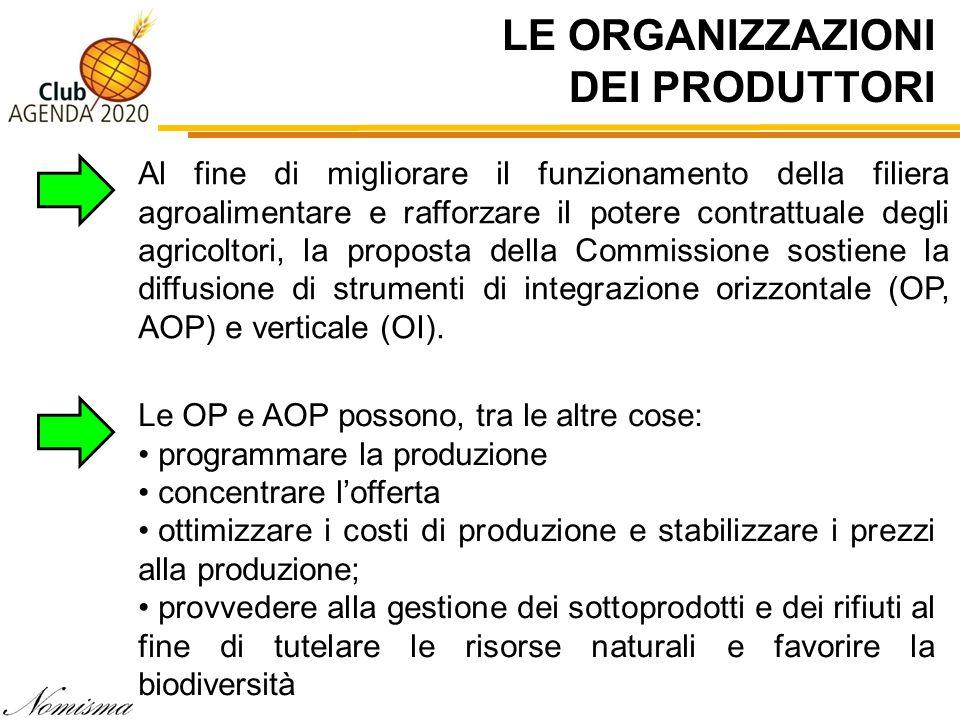 LE ORGANIZZAZIONI DEI PRODUTTORI Al fine di migliorare il funzionamento della filiera agroalimentare e rafforzare il potere contrattuale degli agricol