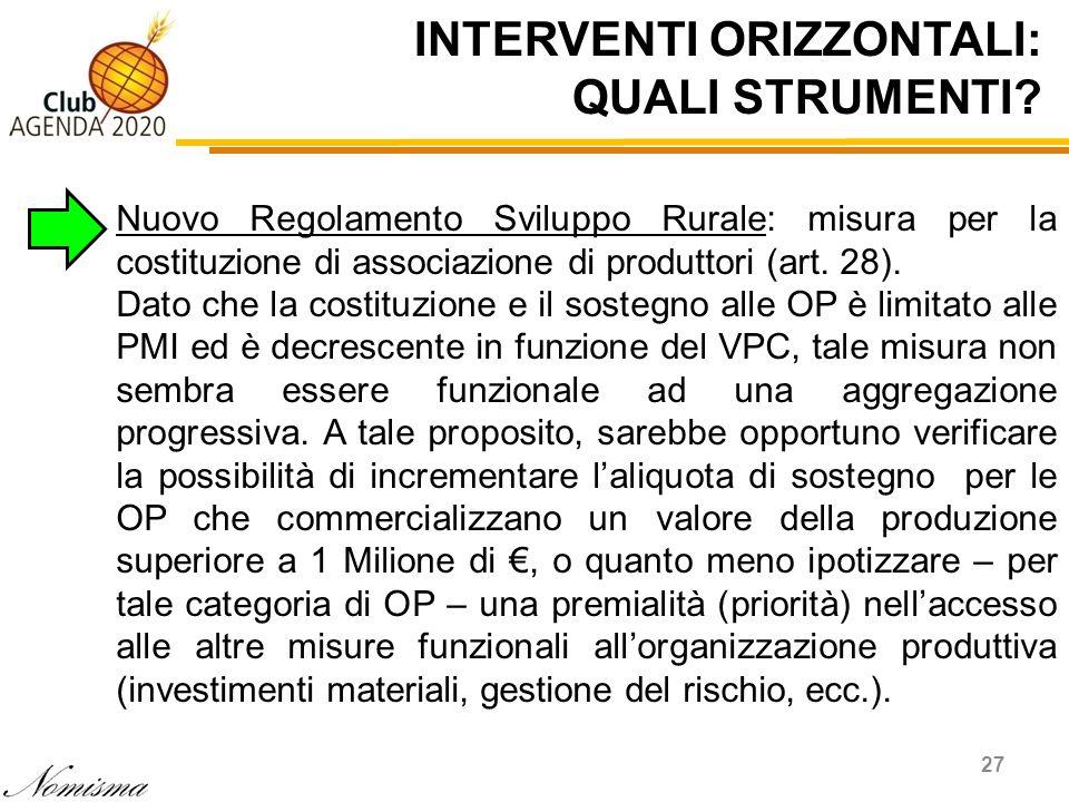 INTERVENTI ORIZZONTALI: QUALI STRUMENTI? 27 Nuovo Regolamento Sviluppo Rurale: misura per la costituzione di associazione di produttori (art. 28). Dat