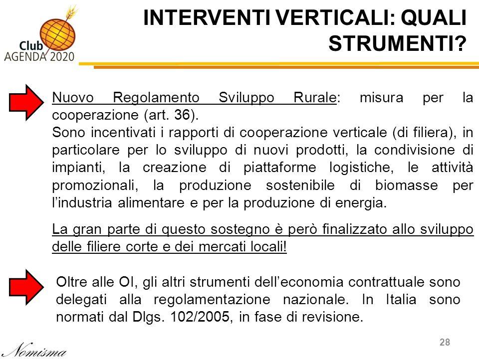INTERVENTI VERTICALI: QUALI STRUMENTI? 28 Nuovo Regolamento Sviluppo Rurale: misura per la cooperazione (art. 36). Sono incentivati i rapporti di coop