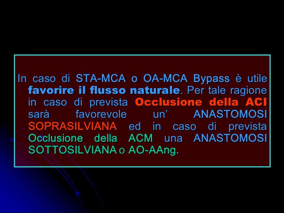 In caso di STA-MCA o OA-MCA Bypass è utile favorire il flusso naturale. Per tale ragione in caso di prevista Occlusione della ACI sarà favorevole un A