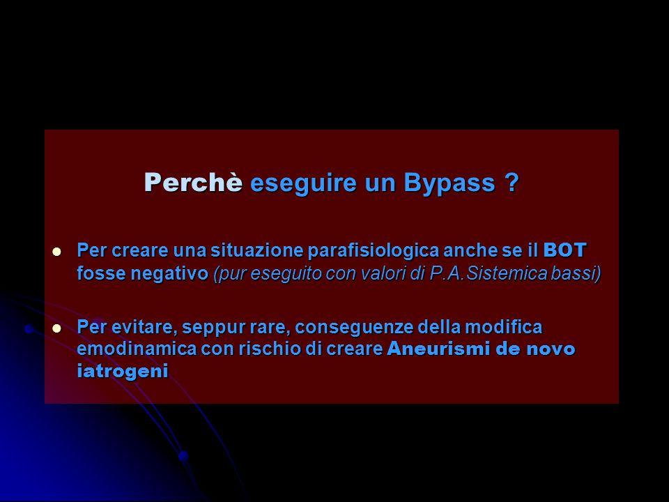 Perchè eseguire un Bypass ? Per creare una situazione parafisiologica anche se il BOT fosse negativo (pur eseguito con valori di P.A.Sistemica bassi)