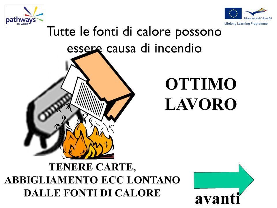 OTTIMO LAVORO Correct Qu1 TENERE CARTE, ABBIGLIAMENTO ECC LONTANO DALLE FONTI DI CALORE Tutte le fonti di calore possono essere causa di incendio avan