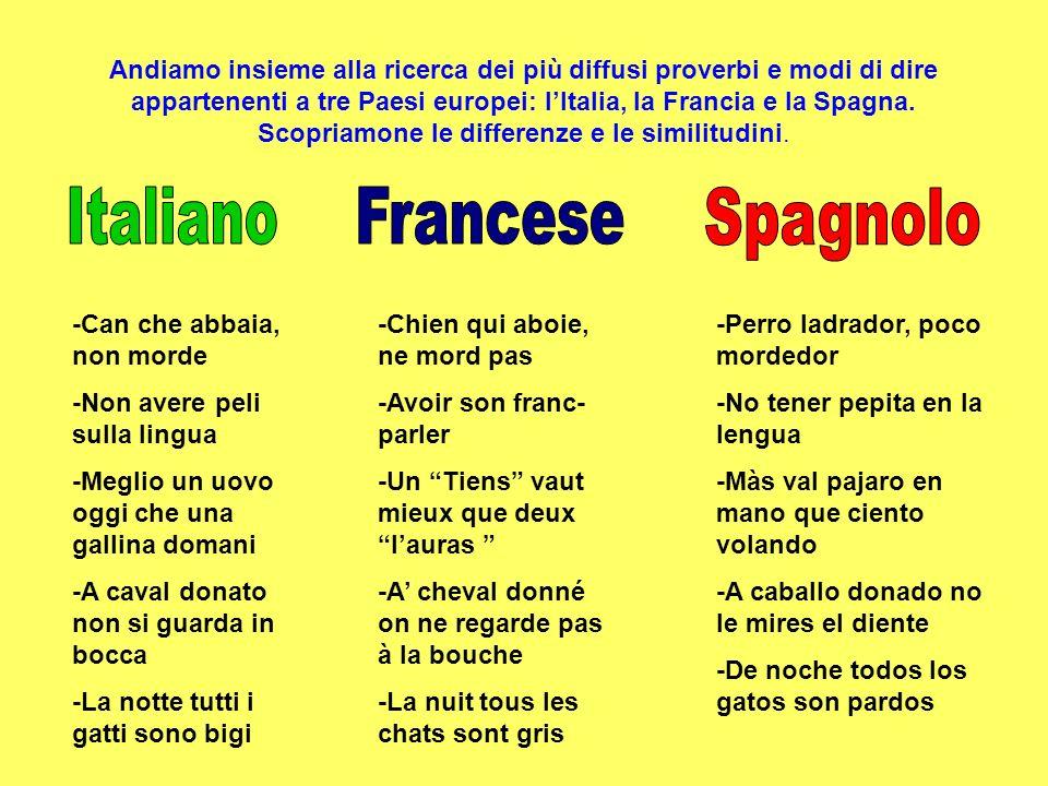Andiamo insieme alla ricerca dei più diffusi proverbi e modi di dire appartenenti a tre Paesi europei: lItalia, la Francia e la Spagna. Scopriamone le