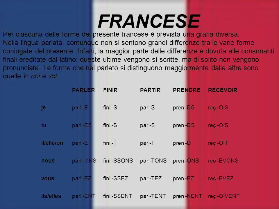 FRANCESE Per ciascuna delle forme del presente francese è prevista una grafia diversa. Nella lingua parlata, comunque non si sentono grandi differenze