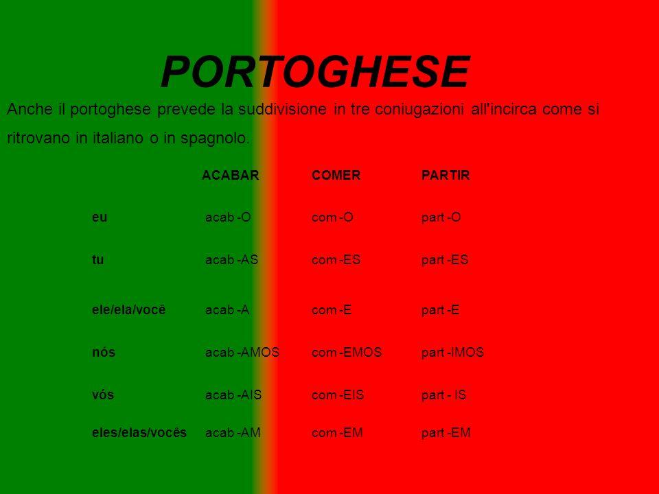 PORTOGHESE Anche il portoghese prevede la suddivisione in tre coniugazioni all'incirca come si ritrovano in italiano o in spagnolo. ACABARCOMERPARTIR