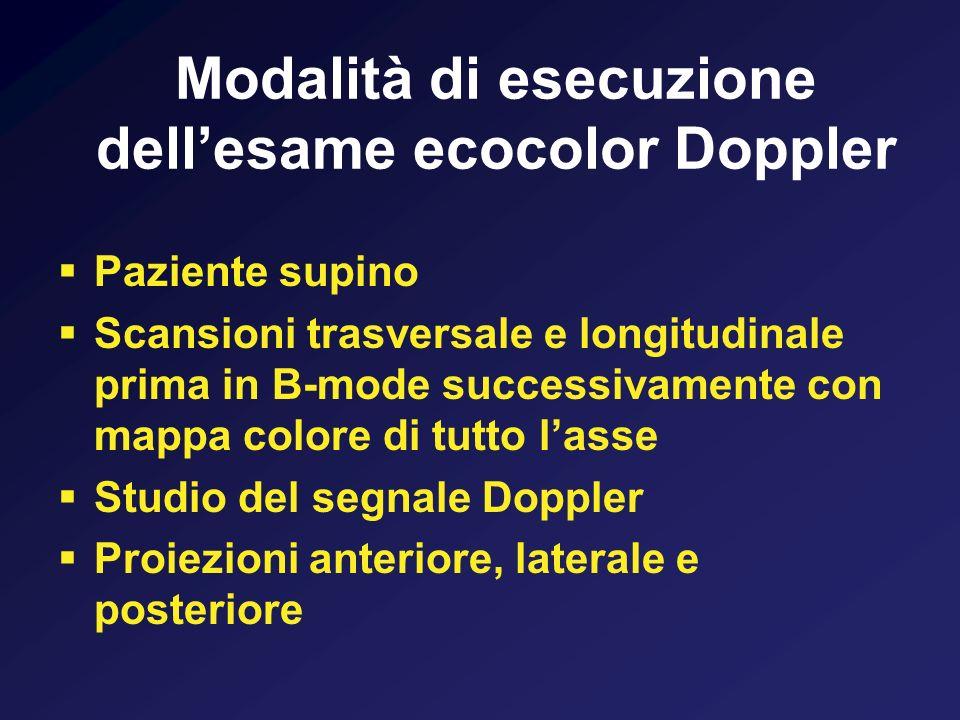 Modalità di esecuzione dellesame ecocolor Doppler Paziente supino Scansioni trasversale e longitudinale prima in B-mode successivamente con mappa colo