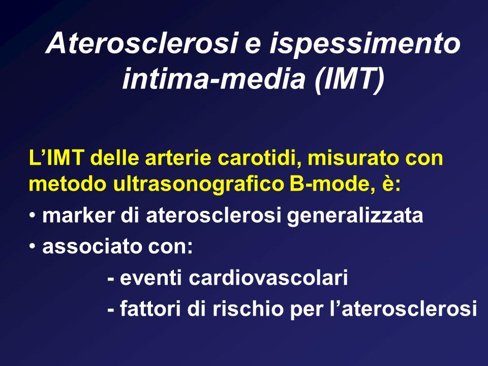 Aterosclerosi e ispessimento intima-media (IMT) LIMT delle arterie carotidi, misurato con metodo ultrasonografico B-mode, è: marker di aterosclerosi g